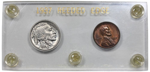 1937 Reeded Edge Buffalo Nickel and Wheat Cent