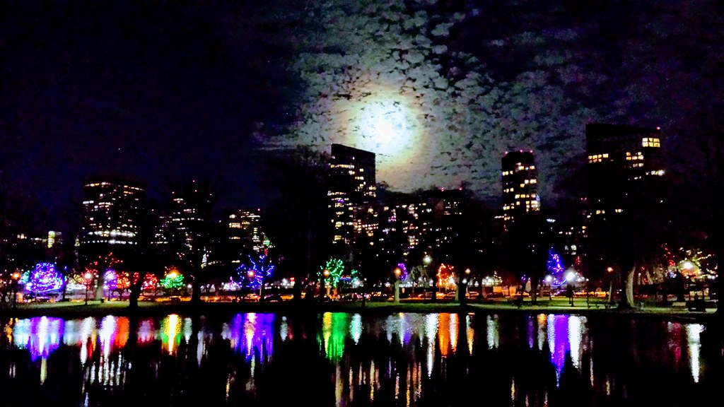 Boston Christmas Lights.Full Moon Skyline And Christmas Lights Downtown Boston