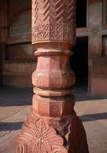 Carved sandstone column at the Agra Fort, a 16th-century Mughal fortress, is another UNESCO World Heritage site in Agra, and in its own way just as beautiful as the Taj Mahal