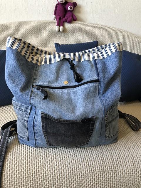 Sac à dos en jean recyclé - ouvert