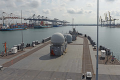 USS Blue Ridge (LCC 19) approaches the pier in Laem Chabang, Thailand, April 3. (U.S. Navy/MC2 Adam K. Thomas)