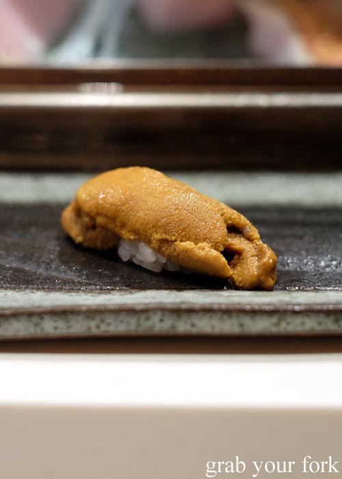 Uni sea urchin roe sushi at the Masuya Sydney omakase