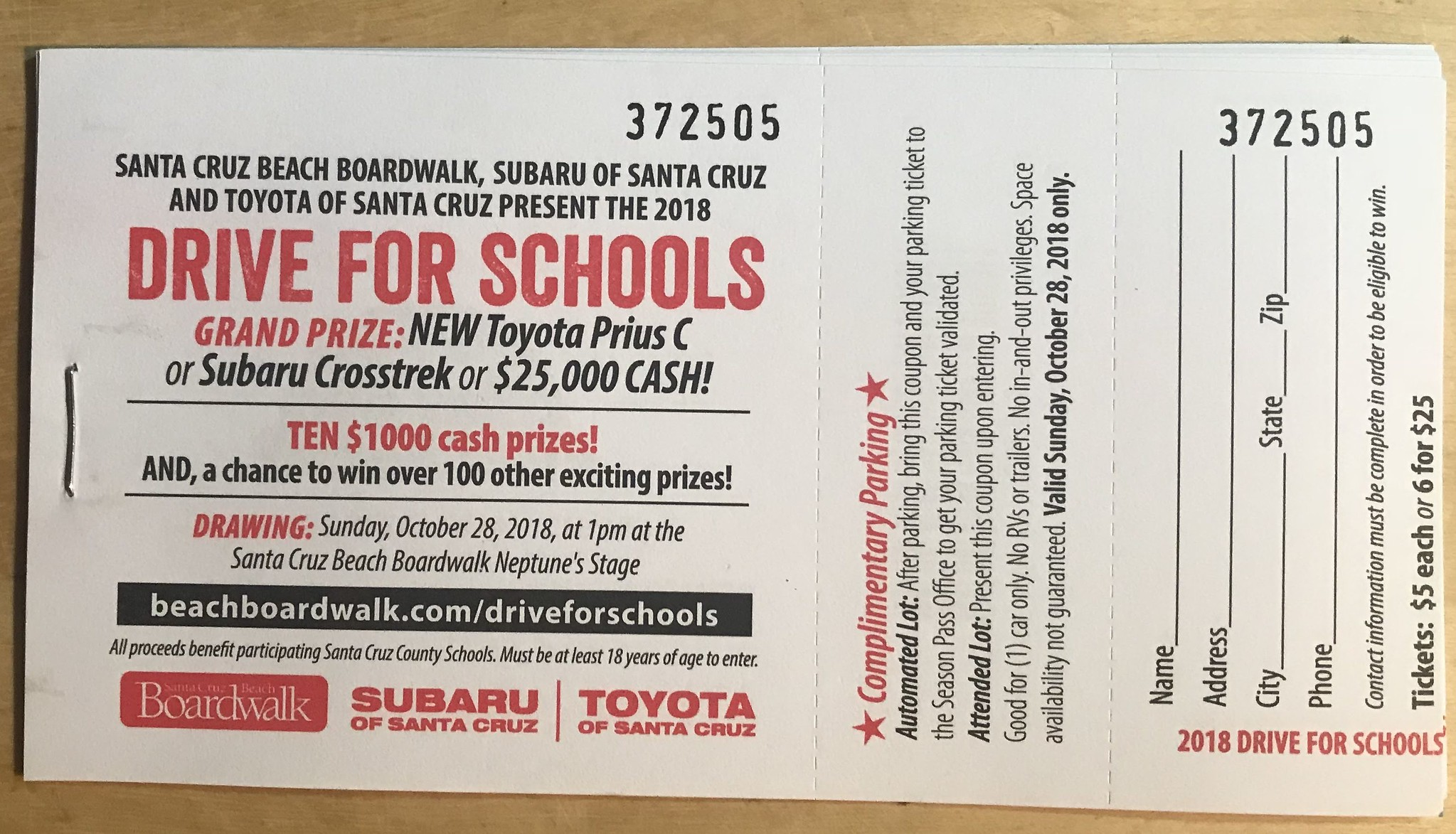 Drive to school raffle ticket