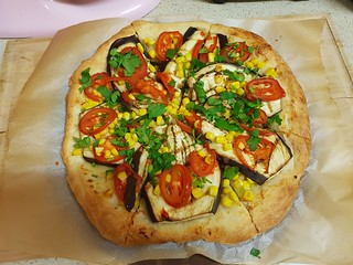 Pizza with Baked Garlic and Grilled Eggplant