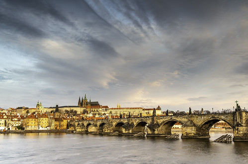 Charles Bridge with Prague Castle at sunrise (Explored 3-5-19)