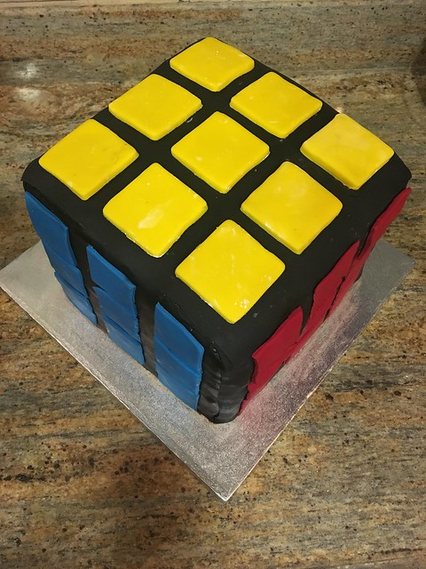 Rubixs Cube Cake made with Chocolate Cake and a Chocolate Buttercream by Hiba Abubakar
