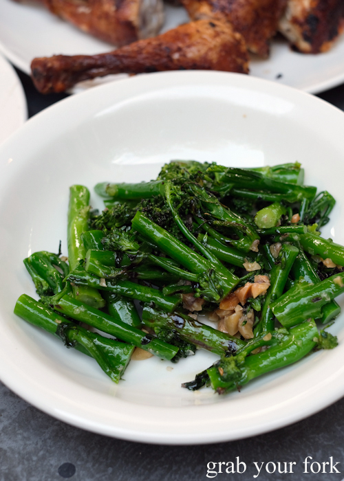 Char-grilled broccolini, almond and anchovy at Totti's by Merivale in Bondi
