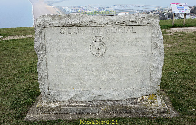 Sidon Memorial in October 2017,  The Portland Centre, 74 Fortuneswell, Portland DT5 1LZ. Dorset. England.