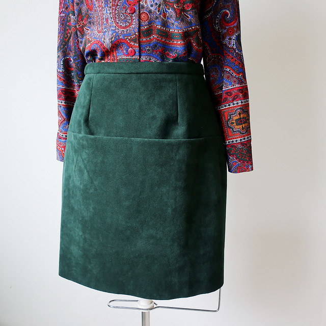 suede skirt on form front