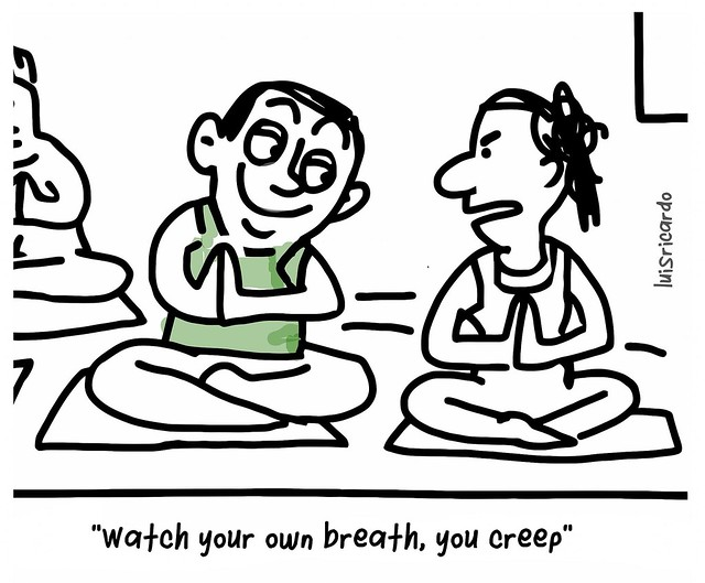 A cartoon about yoga and watching your breathe