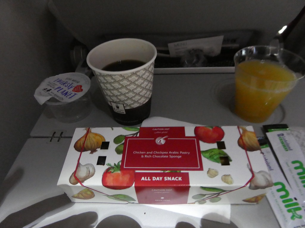 Snack boxes served on Qatar Airways flight before landing on our flight