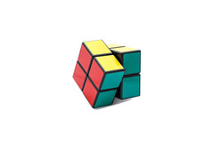 Rotated Rubik's cube 2x2x2 on white background