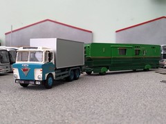 quicksilver coaches posted a photo:	Another six-wheel Foden S80 has unexpectedly joined the fleet with the acquisition of a crude oversized Cararama car transporter that rather improbably had one of the rare Motorway Models S80 cabs grafted on. The cab was so well built that I haven't repainted it from the Wilsons Transport Co livery, but it looks much better for being mounted on a correct scale chassis from a Cararama Mercedes tanker. The bumper is part of the chassis on these kits so I didn't have it and had to substitute one from an Oxford Scania 110 cab in my spares box.