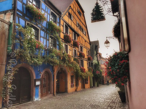 The blue building is now Au Vieux, a popular restaurant in Riquewihr. From The History and Architecture of Riquewihr in Photos