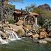 Water Wheel and Water Fall. Old Tucson, Arizona