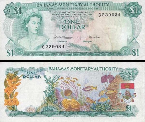 1 dolár Bahamy 1968 P27a