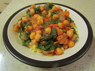 Chickpeas with Tomatoes and Spinach
