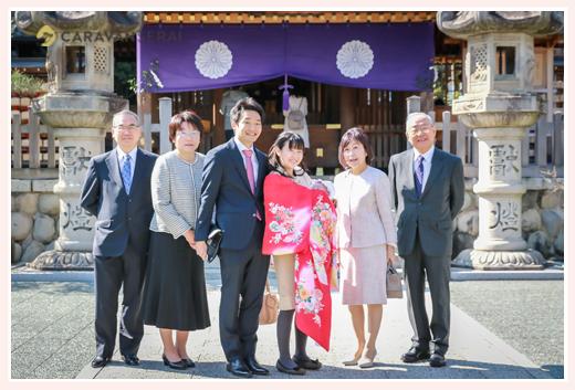 お宮参り 塩竈神社で両家勢揃い 名古屋市