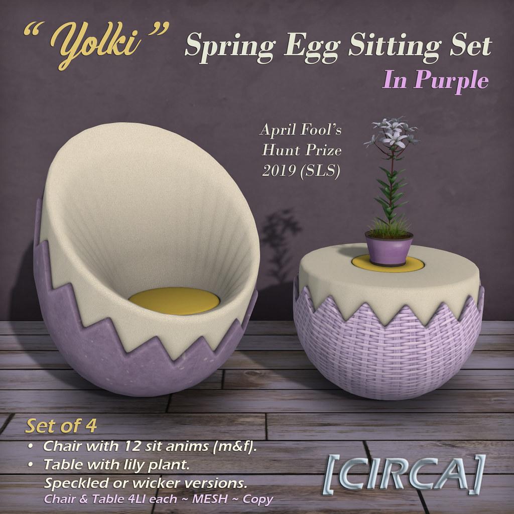 "SLS April Fool's Treasure Hunt | [CIRCA] - ""Yolki"" Spring Egg Sitting Set - April Fools Prize - TeleportHub.com Live!"