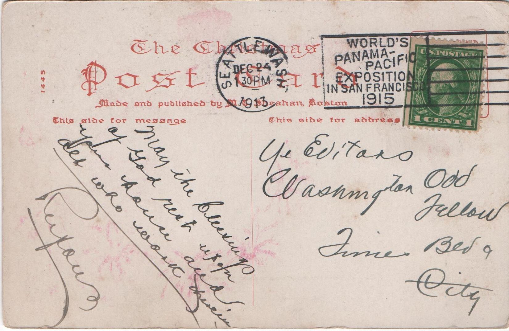 Postcard mailed from Seattle, Washington, on Christmas Eve 1913.