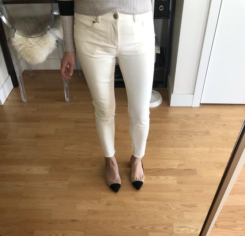 Ann Taylor Frayed Hem Performance Stretch Skinny Jeans, size 25/0P