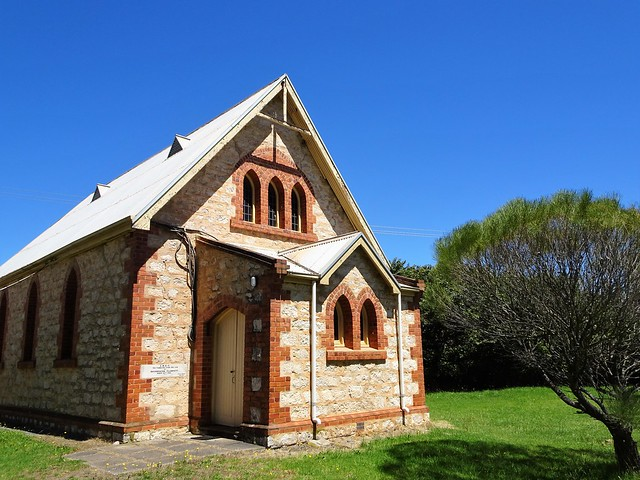 Photo:Macclesfield. The Anglican Church built in 1926 in local poor quality marble stone. It replaced an early Anglican church built in 1857  which was demolished around 1980. By denisbin