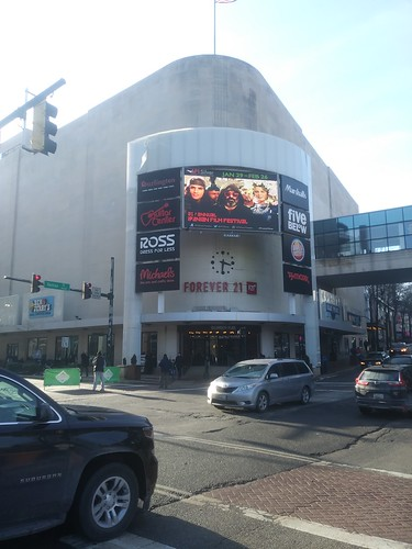 Digital advertising screen, at intersection of Fenton and Ellsworth Avenues, Silver Spring, Maryland
