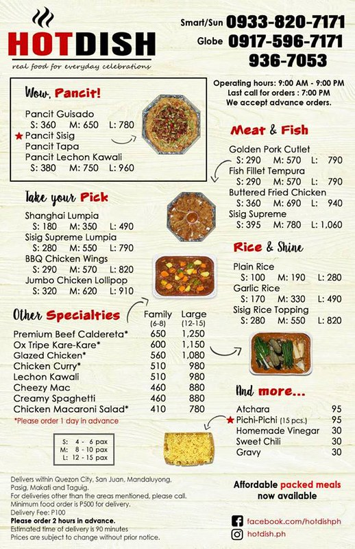hot dish delivery menu