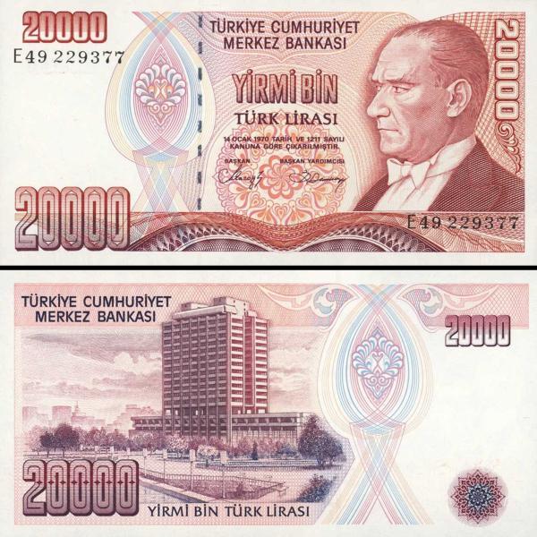 20 000 Lír Turecko 1970 (1984-2002), P201b