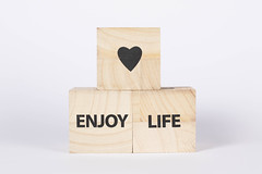 Wooden blocks with Enjoy life text