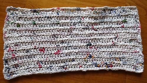 Crocheted plastic bag base
