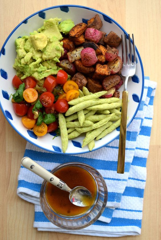 Mexican Roasted Sweet Potato, Radish & Tomato Bowl