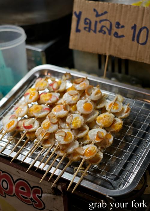 Quail egg skewers at Build Market in Khao Lak, Thailand