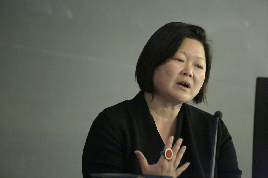 "AAP Dean Meejin Yoon speaking during the Atkinson Forum in American Studies symposium ""Place, Memory, and the Public Monument,"" in Abby and Howard Milstein Auditorium."