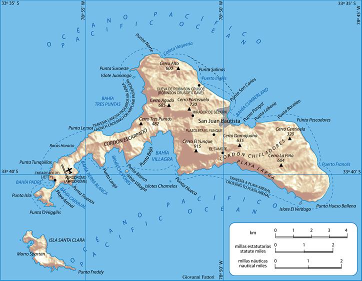 Map of Robinson Crusoe Island, Juan Fernández Archipelago, Chile