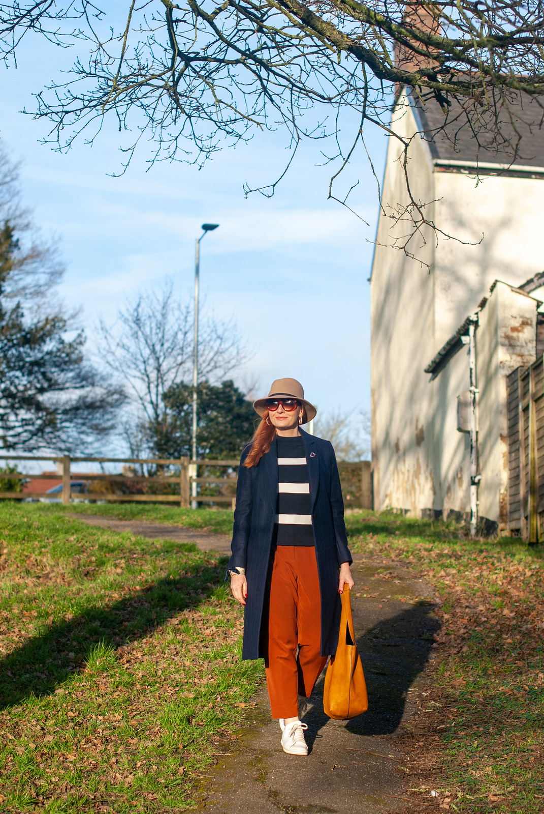 Styling Workwear (Pinstripes) and Sportswear (Adidas) Together (long pinstripe navy coat, Breton stripe sweater, pumpkin trousers, Stan Smiths) | Not Dressed As Lamb, fashion over 40