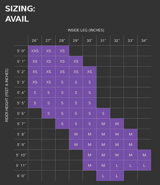 Liv Avail Size Chart