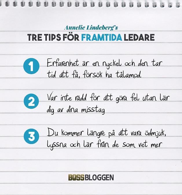 Tre Tips Annelie Lindeberg