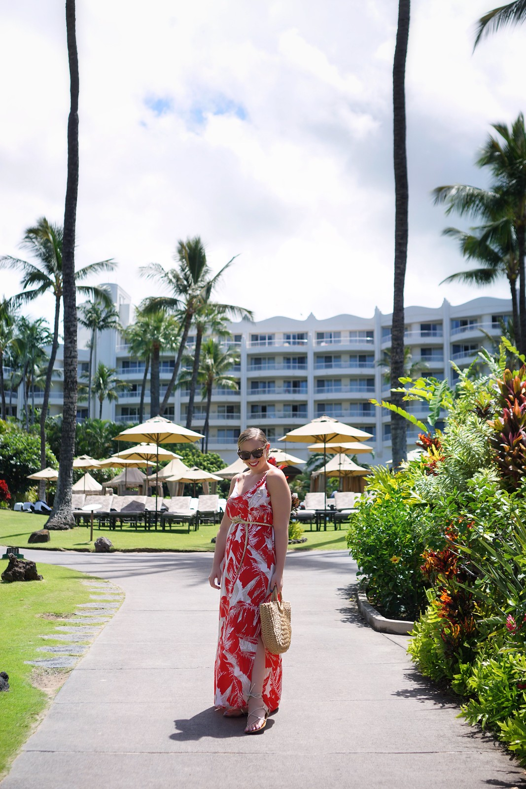 Hawaii Outfit Inspiration Palm Print Maxi Dress Fairmont Kea Lani Maui Hawaii