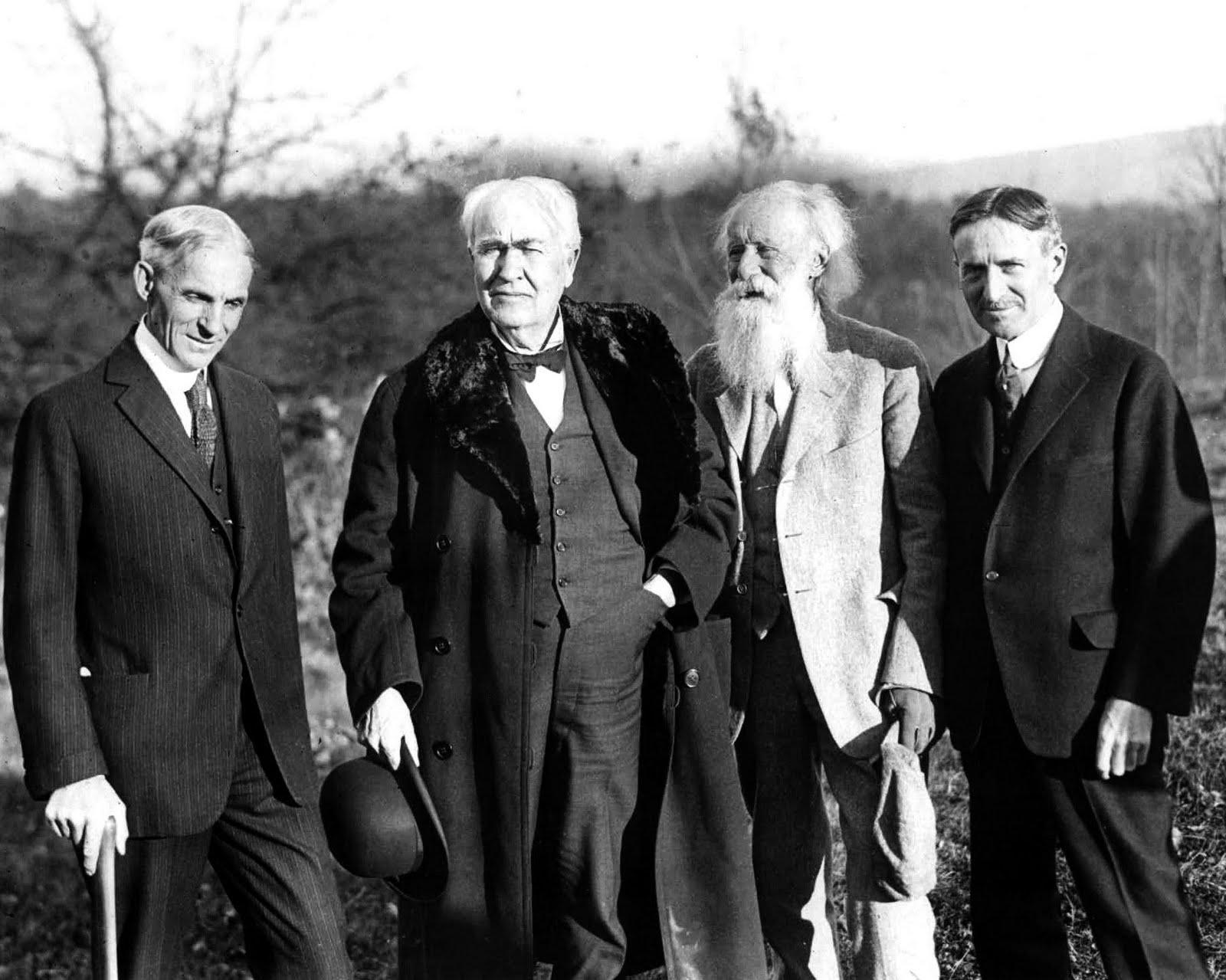 Left to right: Henry Ford, Thomas Edison, John Burroughs, Harvey Firestone
