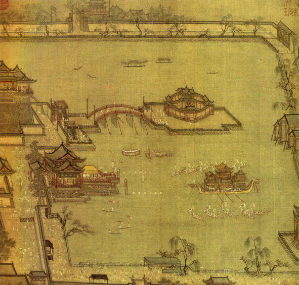 Games in the Jinming Pool, by Chinese artist Zhang Zeduan, a silk painting with dimensions of 28.6 by 28.5 cm, dated to the Northern Song Dynasty (960-1127 AD). It depicts the imperial gardens of Kaifeng, the capital city of China during the Northern Song era.