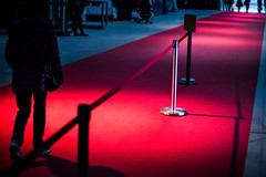 Red carpet at a fair. People leaving the event