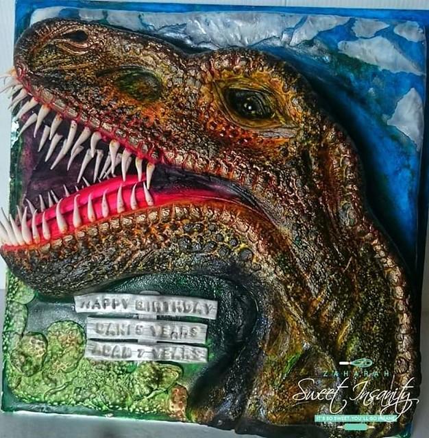 Dinosaur Head Cake by Zaharahshm