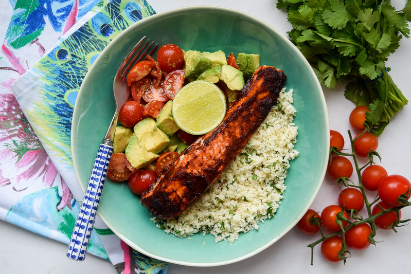 Chipotle Baked Salmon with Mexican Cauliflower Rice, Tomato & Avocado
