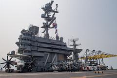 USS John C. Stennis (CVN 74) approaches the pier in Laem Chabang, Feb. 10. (U.S. Navy/MCSN Jarrod A. Schad)
