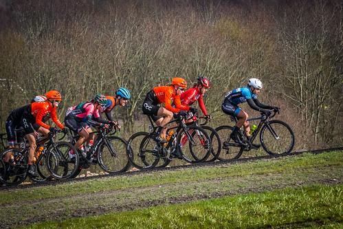Last peloton led by Chanella Stougje.