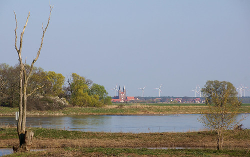 The river Elbe and the town Jerichow in the distance