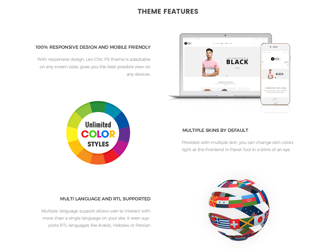 Theme Features for Women Fashion and Lingerie Store