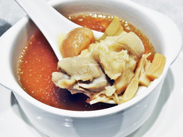 Double-Boiled Chicken Soup With Cordycep Flowers & Sliced Abalone Mushroom