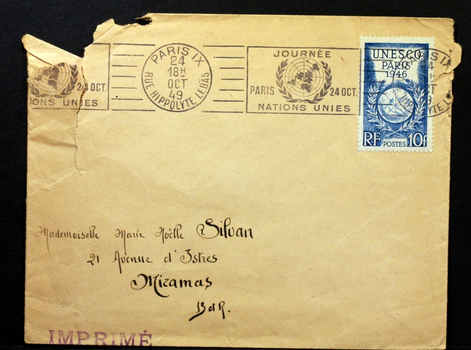 France - Scott #572 (1946). This stamp was released to xommemorate the first General Conference of UNESCO, held in Paris from November to December 1946. This rather ratty-looking cover was posted on United Nations Day, October 24, 1949, and bears a Paris slogan cancellation making the occasion.